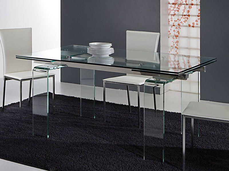 Tavolo glass 676 tavoli cristallo allungabili tavoli for Tavoli cristallo design allungabili