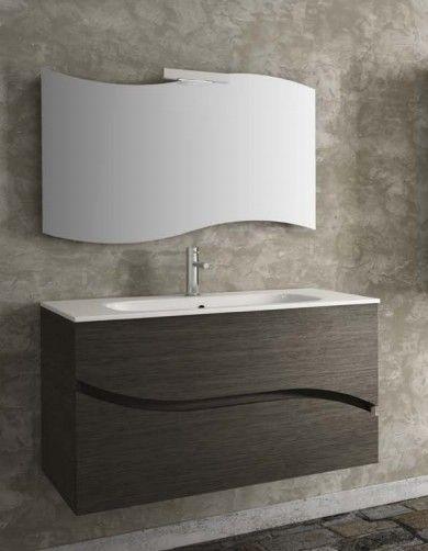specchiera per bagno modello onda specchio sagomato a forma di onda completo di lampada