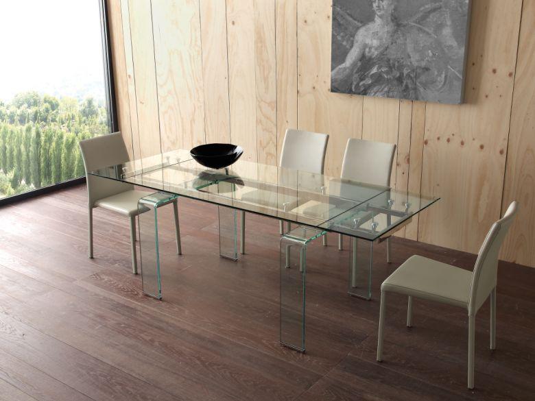Tavolo mini glass 676 2 tavoli cristallo allungabili tavoli for Glass tavoli cristallo